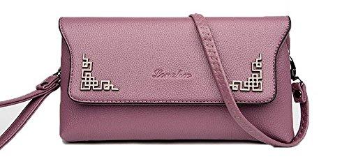 Violet main Femme Sacs AllhqFashion à Sacs Mode bandoulière Zippers à Pu FBUFBD180850 Cuir A187n