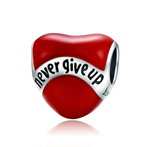 Beauty Never Give Up Charm 925 Sterling Silver Red Heart Bead for Bracelet or (Red Heart Silver Beads)