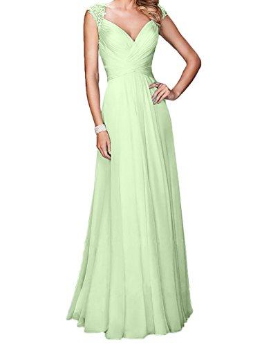 Langes Linie Abschlussballkleider Abendkleider Chiffon Blau Festlichkleider Promkleider Salbei A Charmant Damen ExACqw8ZC