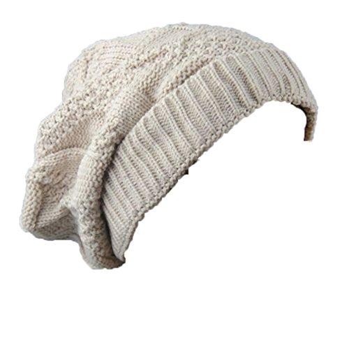 TWGONE Women Cold Weather Headbands Double Decked Hemp Flower Knitting Wool Hat Heap Heap Warm(Beige,One Size)