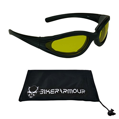 Motorcycle Night Vision Glasses Foam Padded for Men, Women and Kids. Safety Polycarbonate Yellow Lenses. Free Microfiber Cleaning Case