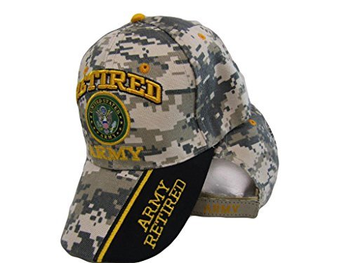U.S. Army Retired Digital Camo Camouflage Shadow Black Embroidered Cap Hat