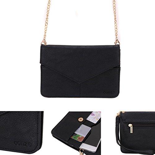 Conze Mujer embrague cartera todo bolsa con correas de hombro para teléfono inteligente para Xolo Play 6x -1000/8x -1200 negro negro negro