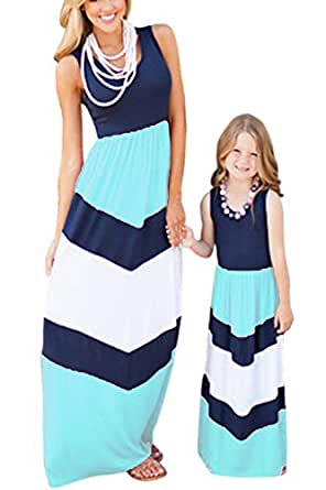 WIWIQS Summer Cute Mommy and Me Boho Striped Chevron Maxi Dresses(Blue,S)