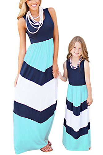 WIWIQS Summer Cute Monther and Daughter Boho Striped Chevron Maxi Dresses(Blue,XL) (Small Singer Dress Form)