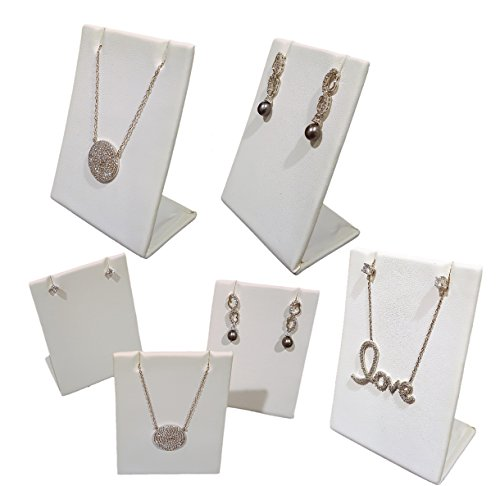 6-Pack White Leatherette Pendant Chain Necklace Display Stand 3.5
