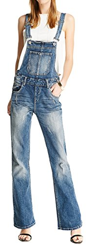 GALMINT Women's Vintage Ripped Bellbottoms Loose Blue Denim Bib Overall Jumpsuits Jeans