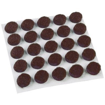 Brown Medium-Duty Self-Adhesive Round 3/8 in. Felt Pads (75-Pack)