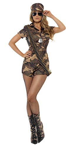 Smiffys Women's Army Girl Sexy Costume with Short Jumpsuit Belt and Hat, Multi, Medium