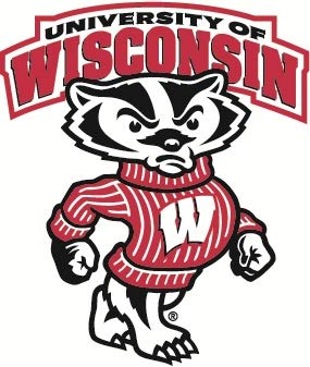 Wisconsin Badgers Ncaa Peel - 4 inch Bucky Badger Decal UW University of Wisconsin Badgers Logo WI Removable Wall Sticker Art NCAA Home Room Decor 4 by 4 1/2 inches