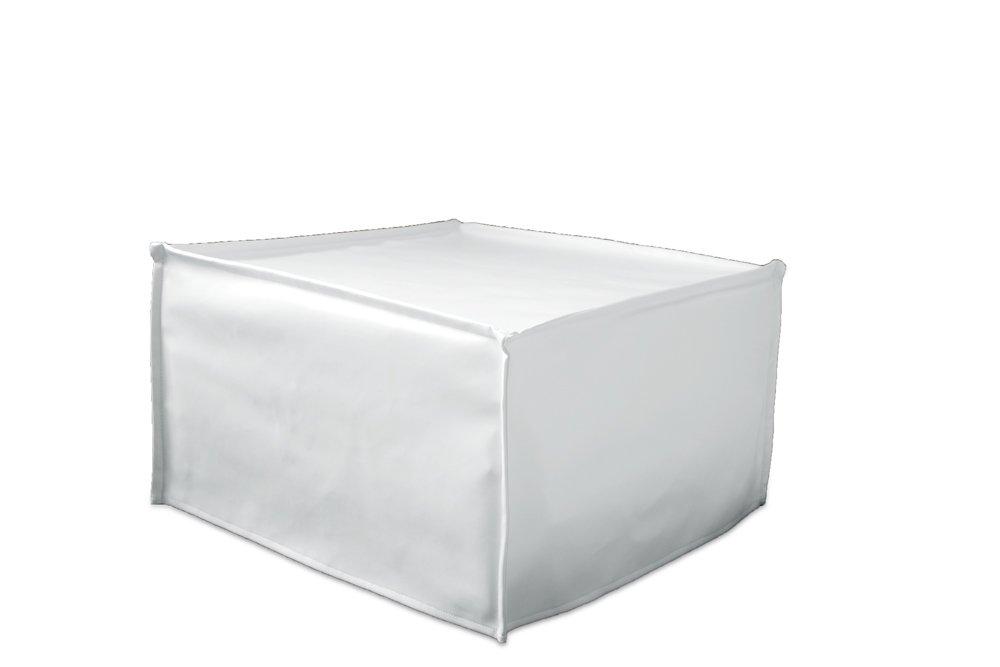 Ponti Divani Fodera Rivestimento per Pouf Letto Singolo 75,5x75,5 h 43cm Ecopelle Bianca