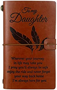 Teblacker to My Daughter Leather Writing Journal - Enjoy The Ride and Never Forget The Way Home Notebook - Tra