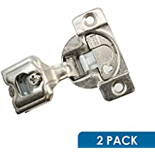 "2 Pack Rok Hardware Grass TEC 864 108 Degree 1"" Overlay 3 Level Soft Close Screw On Compact Cabinet Hinge 04441A-15 3-Way Adjustment 45mm Boring Pattern"