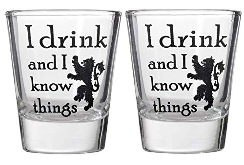 Thrones Shot Glass - I Drink And I Know Things Shot Glass - Game of Thrones Parody Shotglasses (2)