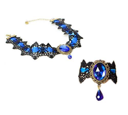 LEFINIS Handmade Gothic Lolita Retro Lace Slave Bracelet Wristband Ring, Necklace Set