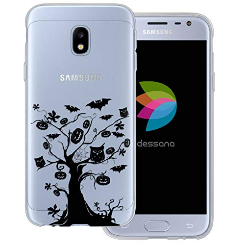 dessana Halloween Pattern Transparent Protective Case Phone Cover for Samsung Galaxy J3 (2017) Scary Tree]()