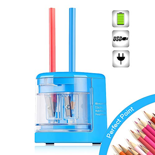 SMARTRO Electric Pencil Sharpener Small Dual-Hole Best USB or Battery Operated for No.2 and Colored Pencils