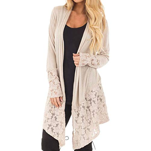 FIRERO Women Fashion Lace Patchwork Long Sleeve Casual Pure Color Cardigan Coat - Patchwork Duster