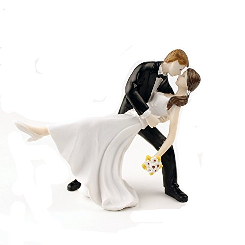Homanda A Romantic Dip Dancing Bride and Groom Couple Figurine Wedding Decoration Cake Topper (Traditional Wedding Cake Toppers Bride And Groom)
