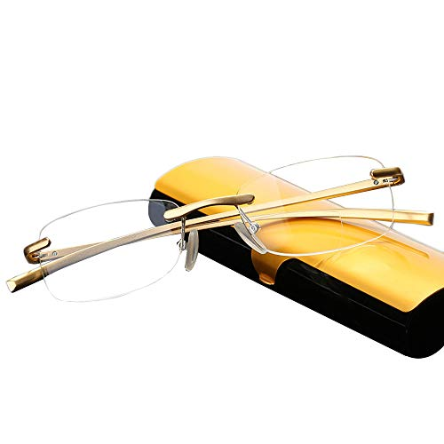 Resin reading glasses protect eyes from fatigue,Golden aluminum-magnesium alloy rimless reading glasses,Ultra-thin portable folding reading glasses,Multifunctional fashion men women reading glasses