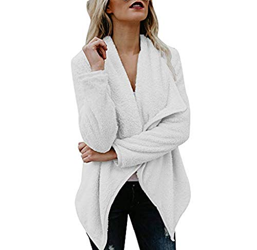 - ICECREAM Women Hooded Warm Cardigan Wool Pocket Long Sleeve Open Front Coat White