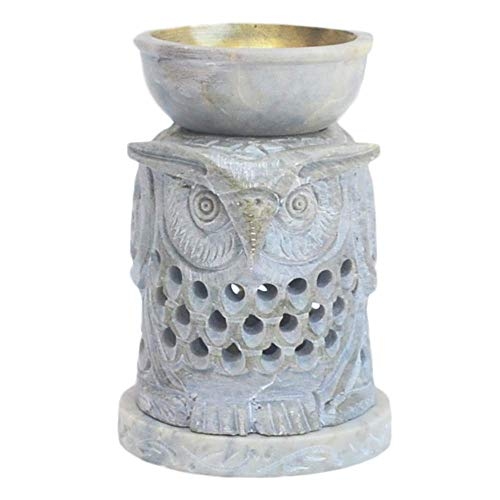 Etroves 4.5 Inch Owl Shape Aromatherapy Oil Diffuser Warmer Burner Tealight Holder Hand-Carved White Soapstone for Fragrance - Home/Office / Bathroom/Mantel Decor - Housewarming Present
