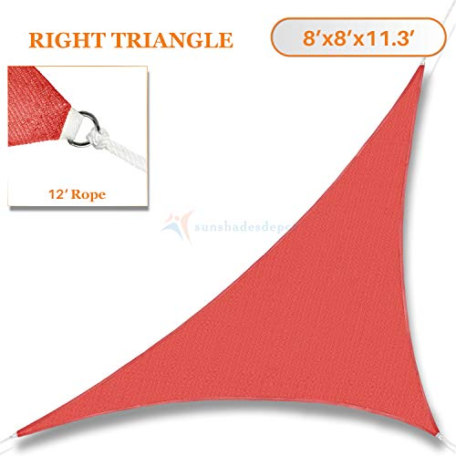 TANG Sunshades Depot 8' x 8' x 11.3' Sun Shade Sail 180 GSM Right Triangle Permeable Canopy Rust Red Custom Commercial Standard ()