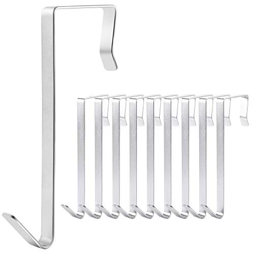 IPOW 10 Pack Stainless Steel 5 Inch Large Over The Door Hooks Metal Hanger Organizer for Shoe Holders,Coats, Hats,Bags