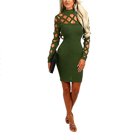 Rond Dentelle De Haut Cocktail Col Manches Green Chic Longue Robe Robe Femme Sexy 8wFvxq0qI