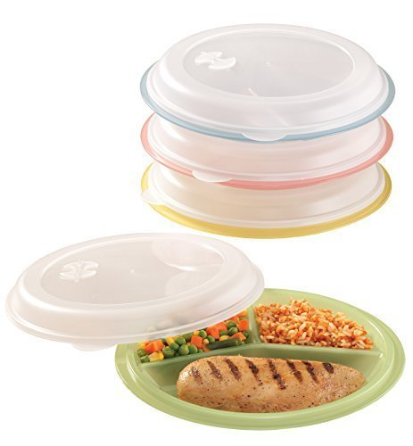 Miles Kimball Divided Plates And Food Storage Containers - Set Of 4 (Divided Set Storage Plate)