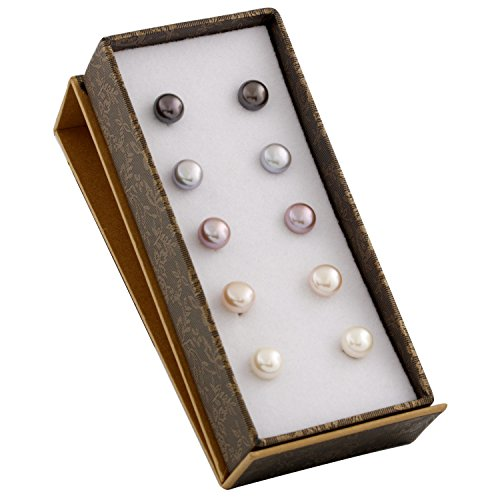 Button Earring Silver - Boxed Set 5 pairs 8mm Genuine Freshwater Cultured Pearl Stud Earrings in 925 Sterling Silver