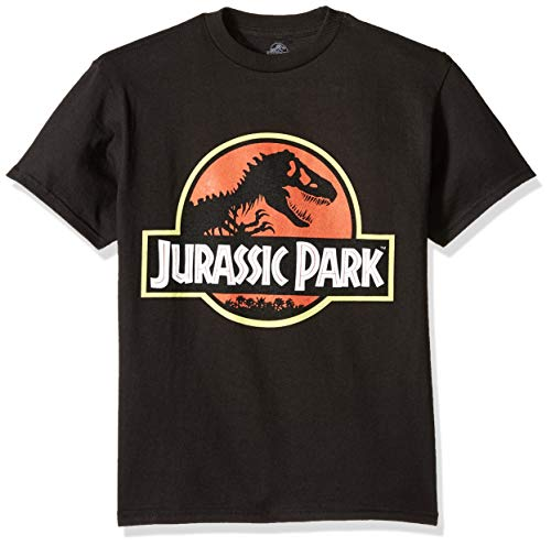 Jurassic Park Boys' Big Logo Short Sleeve Tshirt, Black, M-10/12 ()