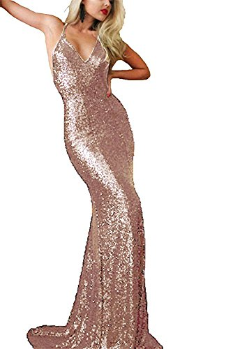 Staypretty Rose Gold Sequins Mermaid Dress For Women Cross Evening Gown Long Backless (Sequin Mermaid Dress)