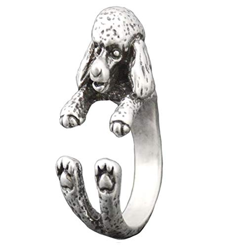 Poodle Dog Resizable Open-end Wrap Cling Ring (Silver Color)