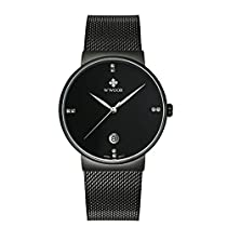 WWOOR Fashion Luxury brand Watches men Stainless Steel Mesh strap Quartz watch Ultra Thin Dial Clock Mens Watcheswaterproof