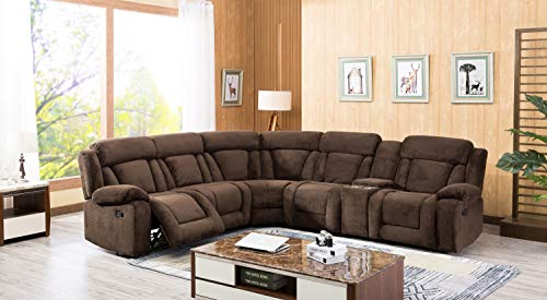 - Esofastore Casual Classic Look Sectional Sofa Dark Brown Fabric Upholstered Reclining Motion Sectional w Console
