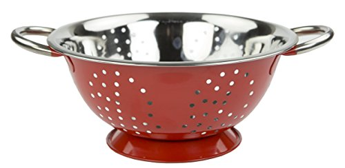 Home Basics Stainless Steel Deep Colander Strainer with Handles (5 Quart, Red) (Steel Colander Supreme Stainless)