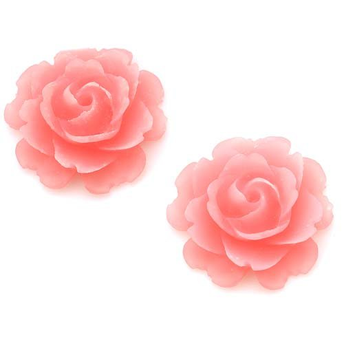 Beadaholique Lucite Flower Cabochons 2-Piece Blooming Rose Beads, 23mm, Matte Transparent Pink (Pink Lucite Flower Bead)