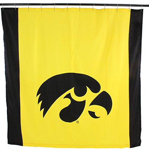 College Covers NCAA Iowa Hawkeyes Iowa Hawkeyesbig Logo Shower Curtain, Yellow, 72