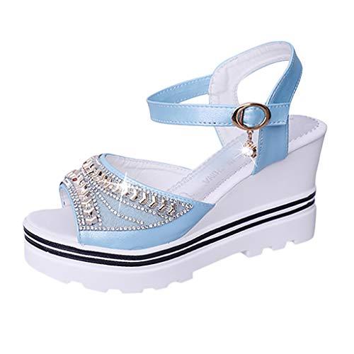 - SOOTOP Women's Open Toe Ankle Strap Platform Wedge Sandals/Pumps Roman Wedges Crystal Peep Toe Sandals Fashion Summer Blue