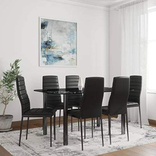 Woodness Osaka Glass 6 Seater Dining Table Set  Black