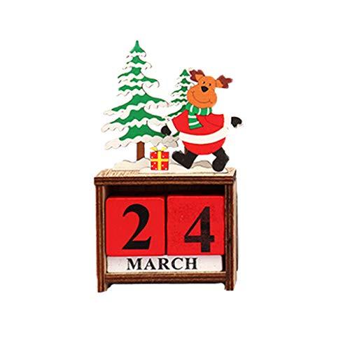 Fan-Ling 1pcs Creative Christmas Calendar Ornaments, Christmas Decorations European Pastoral Craft Wooden Calendar,DIY Home Ornament,Mini Craft Landscape Decoration,Creative Crafts (B)