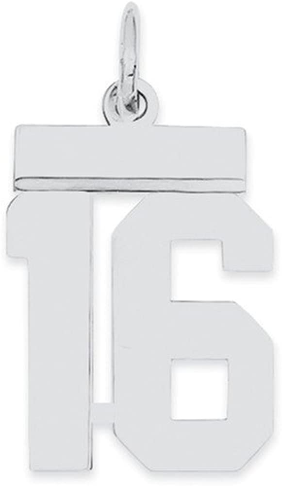 20mm x 8mm Solid 925 Sterling Silver Small Number 16 Charm Pendant
