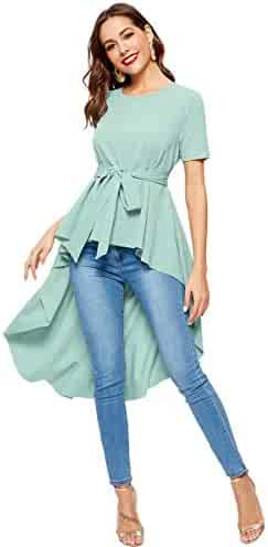 de48ab7f2c5 Romwe Women s Irregular Hem Short Sleeve Belted Flare Peplum Ruffle Blouse  Shirts Top