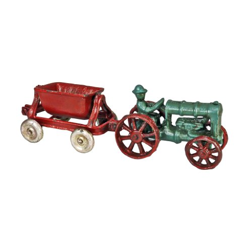 (Design Toscano Fordson Tractor with Spill Wagon Replica Cast Iron Farm Toy Tractor,)