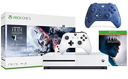 Microsoft Xbox One S 1TB Star Wars Jedi: Fallen Order Bundle + Sport Blue Special Edition Wireless Controller | Include:Xbox One S 1TB Console ,Star Wars Jedi: Fallen Order, Wireless Controller