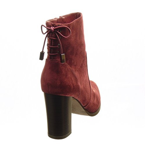 Angkorly - damen Schuhe Stiefeletten - Low boots - Knoten Blockabsatz high heel 9 CM - Burgunderrot