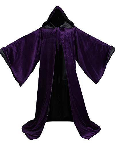 LuckyMjmy Velvet Wizard Robe with Satin Lined Hood and Sleeves (Purple-Black)