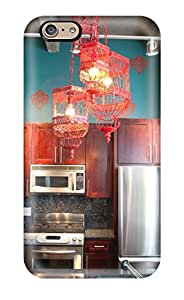 New Arrival Case Cover With HvTrxKR1670VqjeB Design For Iphone 6- Kitchen With Teal Accent Wall With Birdcage Lighting And Wood Cabinets