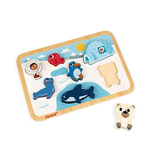 Janod Chunky Puzzle - Colorful 7 Piece Wooden Arctic Themed Jigsaw Puzzle - Encourages Shape Recognition, Dexterity, and Language Development - Toddlers 18 Months+ and Preschool Kids